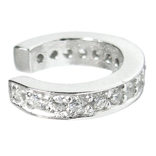 Sterling Silver Round Ring Cubic Zirconia Pave Earring Cuff (Pave Cuff)
