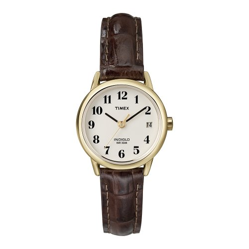 Timex Women T20071 Quartz Easy Reader Watch with White Dial Analogue Display and Brown Leather Strap