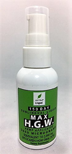 Max Horny Goat Weed Max Icariin 2600 mcg (Equivalent to 2000 mg Oral 10% Icariin HGW) 150 DAY Sublingual Liquid by NUTRA Lingual™—Natural Testosterone Booster for Men & Estrogen for Women Weed Liquid