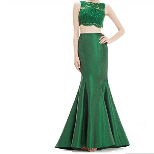 Meibida - Vestido - corte imperio - Sin mangas - para mujer Verde