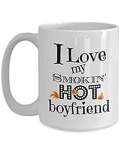I Love My Smokin' Hot Boyfriend Novelty Coffee Mug