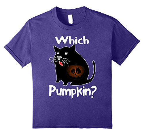 Kids Funny Halloween Carved Pumpkin Ate By Fat Creepy Cat T Shirt 12 Purple