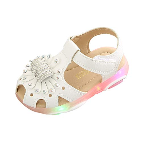 SUNyongsh Children's Sandals Baby Girl Sneakers Crystal Flower Casual Flats Light Luminous Sport Shoes PU Mules White ()