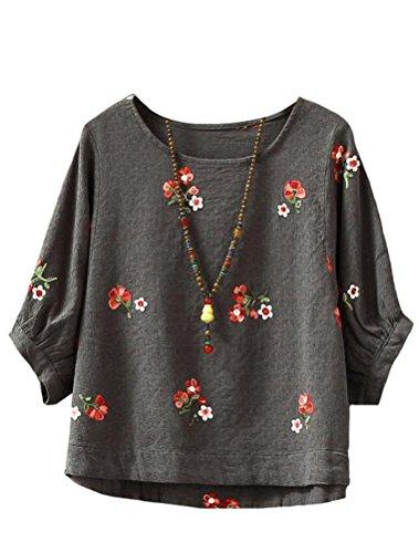 Classique Shirt Gris Floral Top Femme Haut T Casual Fonce MatchLife x670qHw