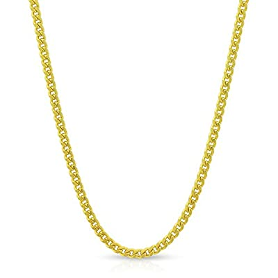 "Sterling Silver Italian 2mm Miami Cuban Curb Link Thick Solid 925 Yellow Gold Plated Necklace Chain 16"" - 30"""