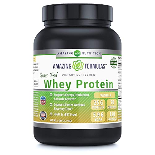 Amazing Formulas – Grass FED Whey Protein 5 Lbs -Non GMO – Made with Natural Sweetener and Flavor – rBGH & RBST Free -Supports Energy Production & Muscle Growth (5 LB, Vanilla) Review