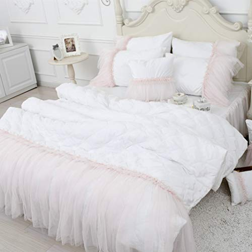 FADFAY Crystal Velvet Duvet Cover Set Soft Warm Winter Bedding Quilted Flannel Comforter Cover Set Princess Lace Girls Bedding, California King Size, White