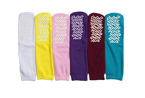 Personal Lines - Personal Touch Top of the Line Non Skid Hospital Slipper Socks, Ladies or Men's Colors, 6 Pairs (Ladies)