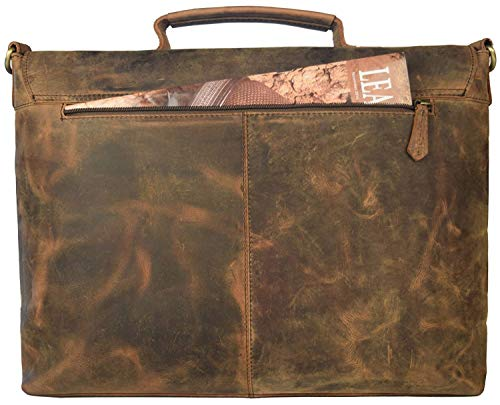 """18"""" Inch Retro Buffalo Hunter Leather Laptop Messenger Bag Office Briefcase College Bag Leather Bag for Men and Women"""