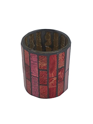 "Firefly Home Collection Mosaic Candle Holder, Burgundy, 3"" x"