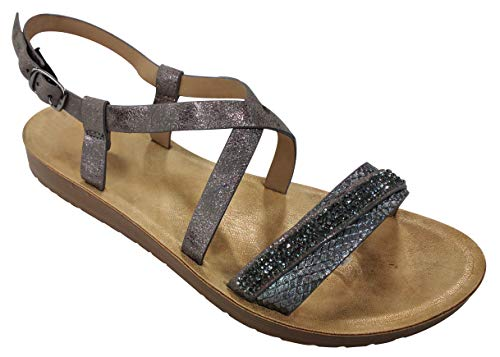 TravelNut Best Comfort Urban Studded Rhinestone Low Platform X Strap Sandal Shoe for Women Teen Girls (Pewter Size 8.5)
