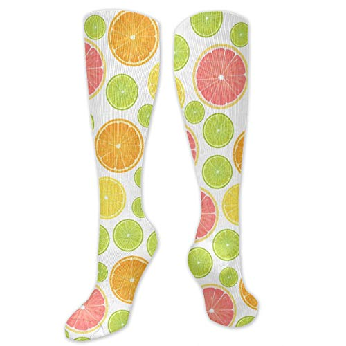 SARA NELL Knee High Socks Colorful Citrus Lemon Pattern Men Women Knee High Stockings Tube Socks Knee High Compression Athletic Socks Personalized Gift Socks for Women Teens ()