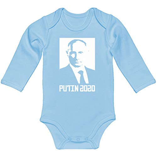 (Indica Plateau Baby Onesie Putin 2020 Light Blue for 6 Months Long-Sleeve Infant)