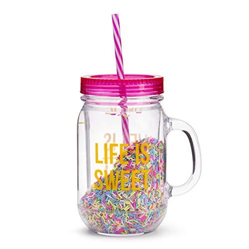 Tri-Coastal Design - Jarra de Plastico con Pajita - Vaso Transparente con Asa de Plastico - Una Idea para Regalo o para Decorar tu Dormitorio o la Cocina - Sin BPA (Junk Food)