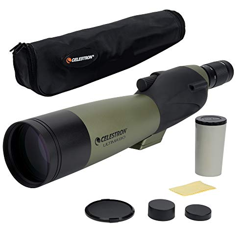 Celestron - Ultima 80 Straight Spotting Scope - 20 to 60x80mm Zoom Eyepiece - Multi-Coated Optics for Bird Watching, Wildlife, Scenery and Hunting - Waterproof and Forgproof - Soft Carrying Case