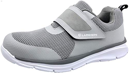 (LARNMERN Men's Steel Toe Work Shoes, LM-1821 Flyknit Breathable Lightweight Safety Shoes with Magic Tape (9 D(M) US, Gray))