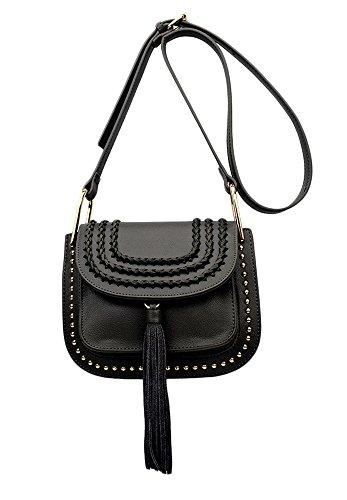 6794f1e39b90 QZUnique Women s Elegant Tassels and Rivets Elements Cross Body Shoulder Bag
