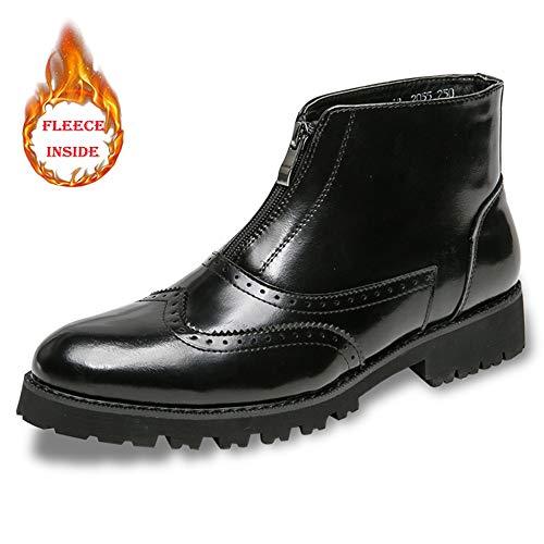 Winter Fleece boots Eu convencional Moda color Hombre Casual Black Inside Para Boot Botines Opcional High Vintage Xiaojuan Warm Tamaño Top 40 Talla Black Faux De Brogue 7vwqAq