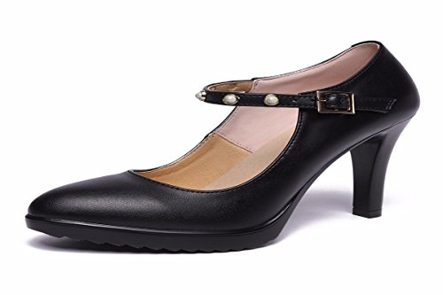 Single Shoes KPHY Fine A Word Waterproof Heeled Cheongsam Forty Pointed 8Cm Table With High Black With Model Walking Women'S Shoe Leather A 5qypqwU4