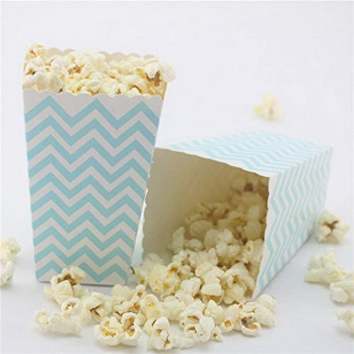 Xiaogongju 12Pcs Rich Color/Style Popcorn Box Party Supplies Popcorn Box Birthday Party Supplies Party/Food/Retro/Hollywood/Movie/Treat Blue ()