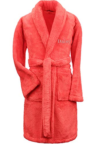 (Turkuoise Girls Ultra Soft Plush Bathrobe Made in Turkey (Large (Ages 9-12), Personalized-Coral))