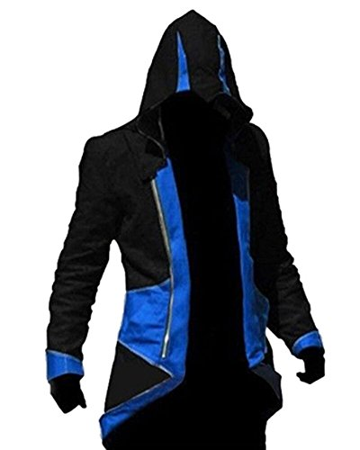 Wind Costume (Windbreaker Hoodie Outwear Cosplay Jacket - Perfect Long Sleeves Anime Cosplay Costume For Cosplay Theme Activities,Halloween, Concerts, Theme Parties and Dating (X-Large, Black Blue))