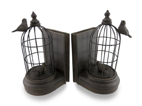 Things2die4 Metal Decorative Bookends Antique Bronze Finish Bird Cage Bookends Set Of 2 5.5 X 9.5 X 5 Inches Bronze Model # 44729 Antique Bronze Bookends