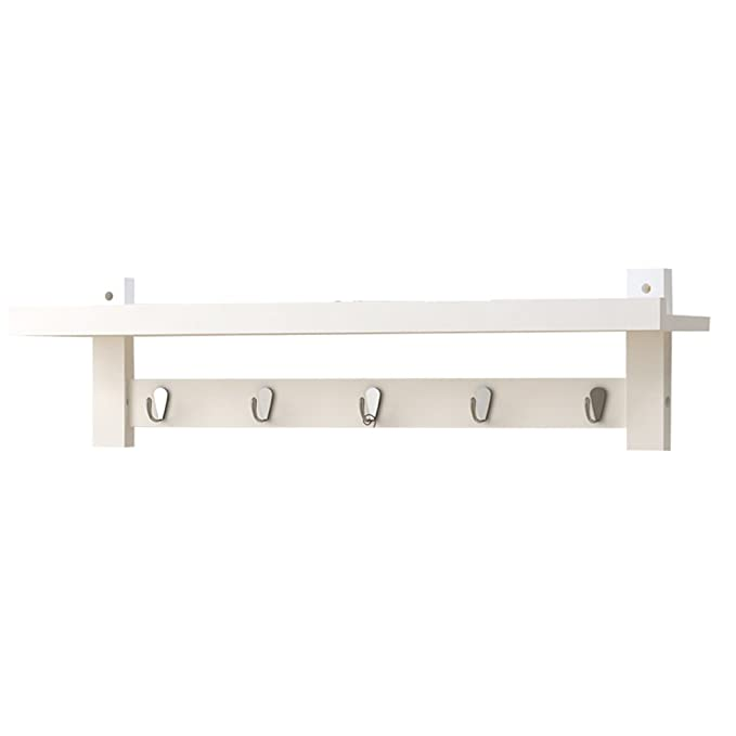 Amazon.com: White Wall Shelf/Hooks Coat Rack/Living Room ...