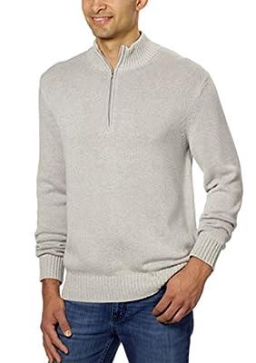 Calvin Klein Men's Cotton 1/4 Zip Mock Neck Tight Weave Sweater