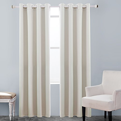 Beautiful KEQIAOSUOCAI Flame Retardant/Resistant Blackout Room Darkening 250GSM  Thermal Insulated Grommet Curtain For Bedroom Living Room 1 Panel(Off White ,52Wx84L) Part 26