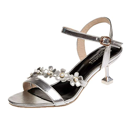 (Womens Floral Sandals,❤️ FAPIZI Ladies Open Toe Kitten Heels Shoes Casual Office Working Ankle Strap Sandals Shoes Silver)