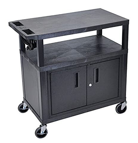 LUXOR EA34CE-B Presentation Station, 3 Flat Shelves with Cabinet and Electric, Black - Buhl Flat
