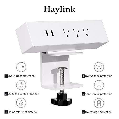 (Haylink UL Approval Clamp on Desktop Sockets Power 2 Port USB Charger 3 Outlet Strip 6ft Cord Home Office Reading Public Area Table Mount Multi-Outlets Aluminum Surge Protector Desk Strip (White))