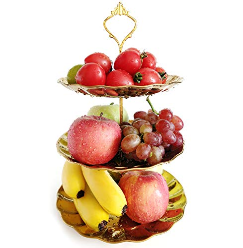 3-tier Cupcake Stand Fruit Tray Gold Stainless Candy Plates Serving Tray Stand for Wedding Home Birthday Party Christmas Family Dinner