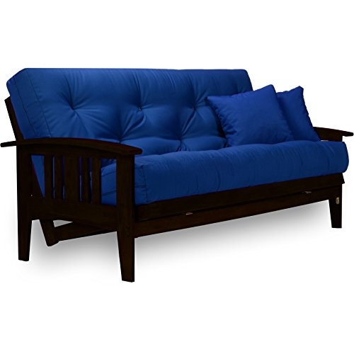 Westfield Complete Futon Set - Espresso Finish (Warm Black) – Large Queen Size, Mission Style Wood Futon Frame with Mattress Included (Twill Royal Blue), More Mattress Colors Available ()