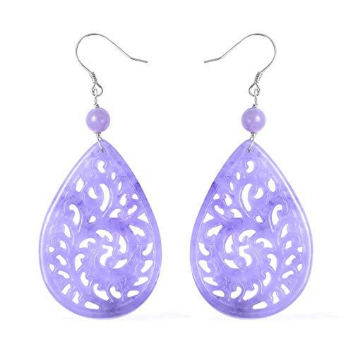 Dangle Drop Earrings 925 Sterling Silver Pear Dyed Color Purple Jade Jewelry for Women Gift