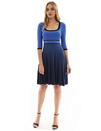 PattyBoutik Women Square Neck 3/4 Sleeve Knit Dress (Blue and Black Medium) (Square Womens Dresses Neck)