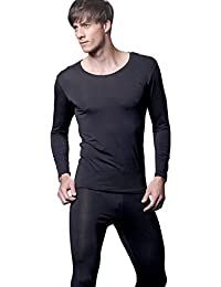 Feelvery Men's Natural Soft Tencel Long Johns Top & Bottom Thermal Underwear Set