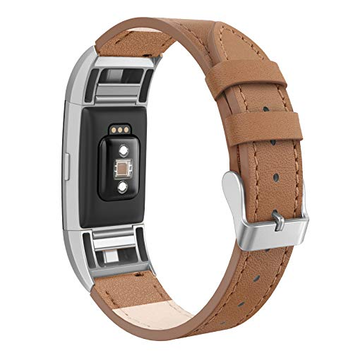 SWEES Leather Bands Compatible Fitbit Charge 2 Small (5.6 - 7.5), Genuine Leather Replacement Wristband with Metal Connectors for Women, Black, Beige, Brown, Grey, Rose Gold, Champagne