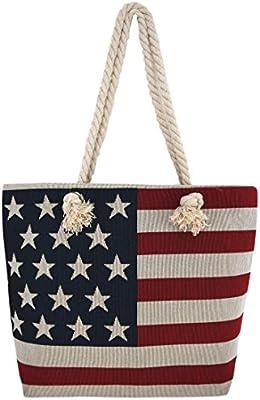 45f93d5c1d7d WESTERN ORIGIN American Flag Embroidered Tote Bag Stars and Stripes Beach  Bag Rope Handles Shoulder Bag Women Purse