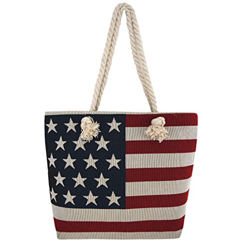 American Purse (Western Origin American Flag Embroidered Tote Bag Stars and Stripes Beach Bag Rope Handles Shoulder Bag Women purse)