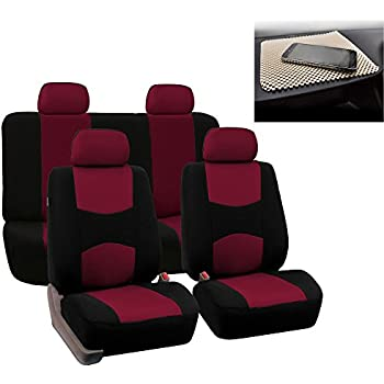 FH GROUP Bright Flat Cloth Full Set Car Seat Covers Burgundy Black Fit Most Truck Suv Or Van