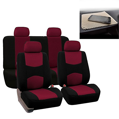 FH GROUP Bright Flat Cloth Full Set Car Seat Covers, Burgundy / Black- Fit Most Car, Truck, Suv, or (Subaru Legacy Car Seat Cover)