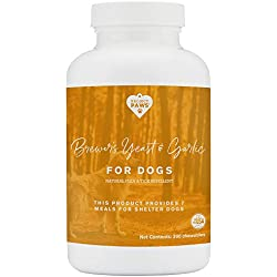 Project Paws Natural Flea and Tick Prevention for Dogs - Brewers Yeast and Garlic Supplement for Dogs - 300 CT