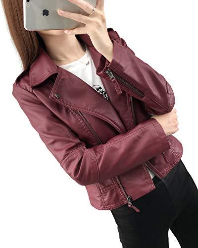 Vintage Pelle Fit Rosso Lunga Pu Donna Vino Cappotto Con Manica Risvolto Moto Giubbotto Giacca Zip Slim Giacche BTqavz
