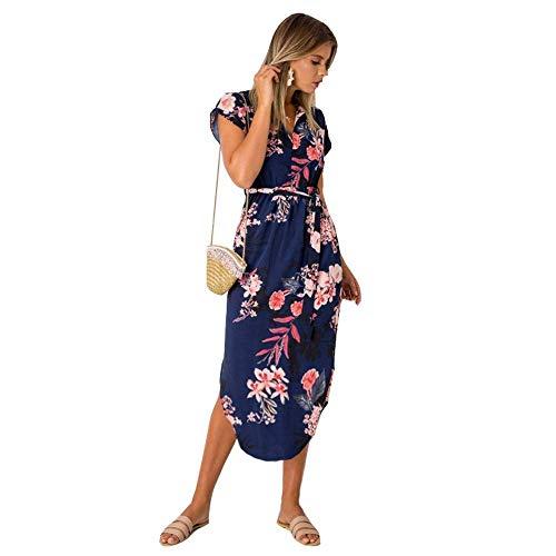 Womens Midi Dresses Summer V Neck Short Sleeve Casual Office Geometric Belted Party Dress Medium Blue