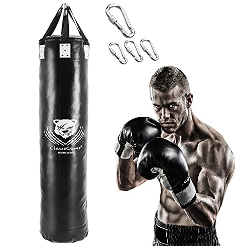 ClawsCover 4FT/5FT/6FT Heavy Punching Bag Boxing UNFILLED Premium PU Leather Hanging Kickboxing Bags Banana Bag for MMA…