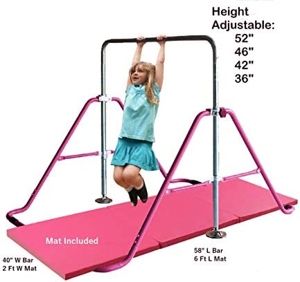 Kids Jungle Children Monkey Bar Gymnastics Athletic Expandable Kip Balance Bars Junior Training Play Gym Pink with 2Ft x 6Ft Gymnastic Mat