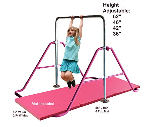 Kids Jungle Children Monkey Bar Gymnastics Athletic Expandable Kip Balance Bars Junior Training Play Gym Pink with 2Ft x 6Ft Gymnastic Mat