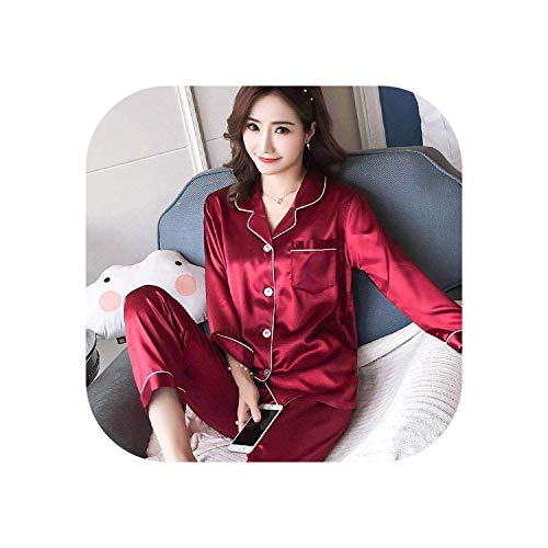 Women's Pajamas Suits Pyjamas Plus Size 5XL 4XL Satin Pajamas Women Top and Pants Pajama Sets Home Suit Sleepwear,Red,XXL